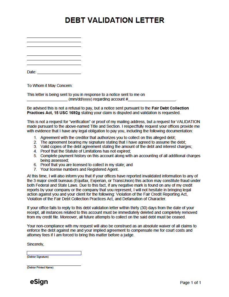 How to write a validation of debt letter admission editor service au